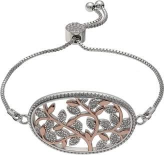 Brilliance+ Brilliance Two Tone Adjustable Vine Bracelet with Swarovski Crystals