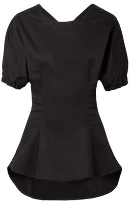 Tome Open-back Stretch-cotton Poplin Top - Black