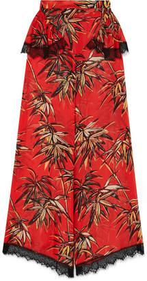 Rodarte Printed Silk-blend Satin Wide-leg Pants