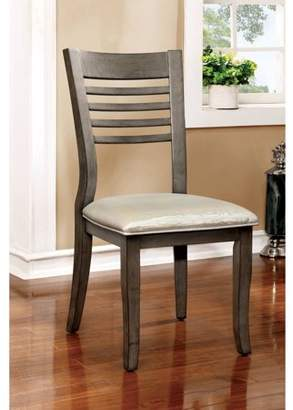 Furniture of America Walden Transitional Ladder-Back Dining Chair, Gray, 2pk