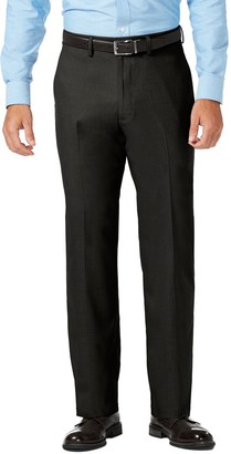 Haggar Men's J.M. Premium Classic-Fit Stretch Sharkskin Flat-Front Superflex Waist Dress Pants