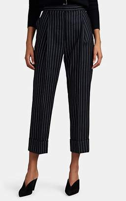Thom Browne Women's Pinstriped Wool Pleated Crop Trousers - Navy