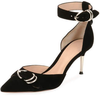 Gianvito Rossi Suede Ankle-Strap d'Orsay Pumps