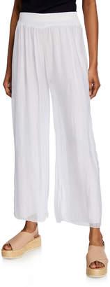 Moda Seta Pleated Sheer Overlay Pleated Soft Pants