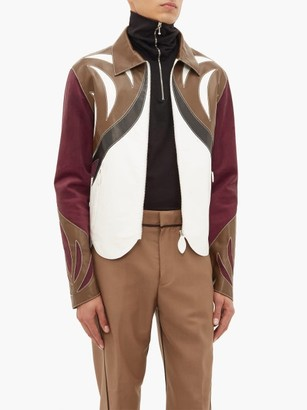 Lanvin Patchwork Leather And Suede Parrot Jacket - Mens - Burgundy