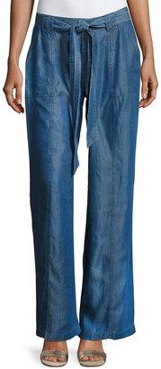 Neiman Marcus High-Waist Wide-Leg Chambray Pants $69 thestylecure.com