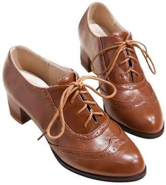 50c02462158 Susanny Women s Shoe Classic Lace up Dress Pumps Mid Heel Wingtip Saddle  Oxfords Brogue Shoes 13 B (M) US