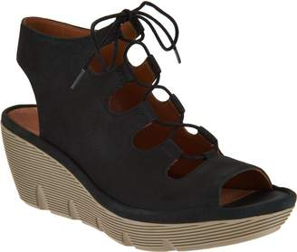 Clarks Artisan Leather Ghillie Wedge Sandals - Clarene Grace