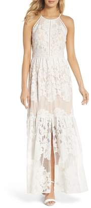 Eliza J Front Slit Lace Maxi Dress