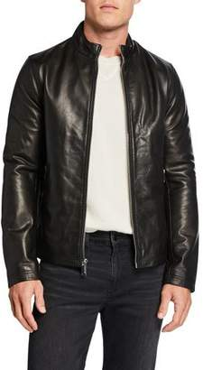 Karl Lagerfeld Paris Men's Leather Racer Jacket with Zip Pockets