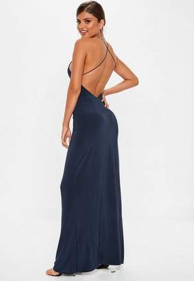 Missguided Navy Slinky Side Split Maxi Dress