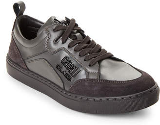 Class Roberto Cavalli Solid Tone Lace-Up Sneakers