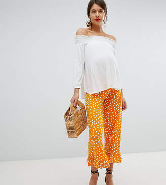 Asos (エイソス) - ASOS Maternity ASOS DESIGN Maternity Over The Bump Pants With Fluted Ruffle Hem In Polka Dot