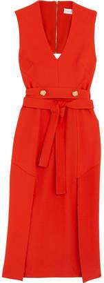 Rebecca Vallance Beltrán Belted Cutout Crepe Midi Dress - Red