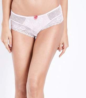 New Look Nude Lace Mesh Brazilian Briefs