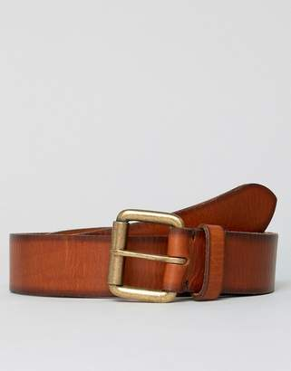 Esprit Leather Jeans Belt In Tan With Roller Buckel