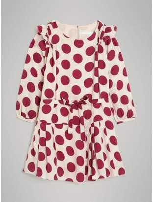 Burberry Polka Dot Print Silk Crepe Dress , Size: 4Y