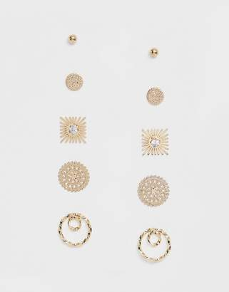 Asos DESIGN pack of 5 earrings in engraved twist and starburst design in gold