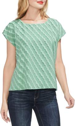 Vince Camuto Scallop Stripe Fil Coupe Top