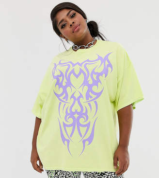 3abdb7e8 New Girl Order Curve oversized t-shirt with tattoo graphic