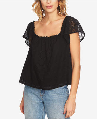 1 STATE 1.state Square-Neck Eyelet Top