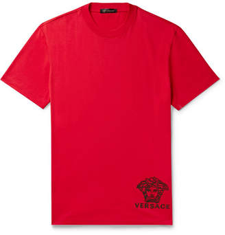 Versace Logo-Embroidered Cotton-Jersey T-Shirt - Men - Red