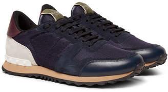 Valentino Garavani Rockrunner Mesh, Leather and Suede Sneakers - Men - Navy