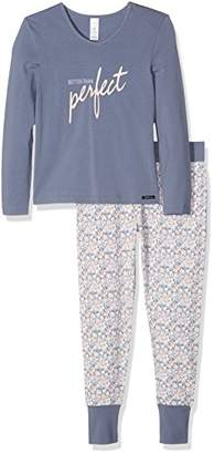 Skiny Girl's Lovely Dreams Sleep Lang Pyjama Set, Mehrfarbig (Dusty Blue 0342), (9-10 Years)