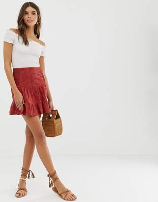 Asos Design DESIGN broderie mini skirt with button front and shirring