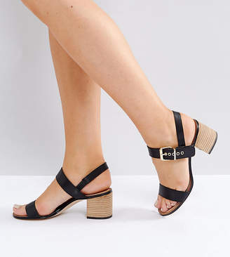 Dune London Dune Wide Fit Wide Fit Jany Leather Block Heel Buckle Sandals