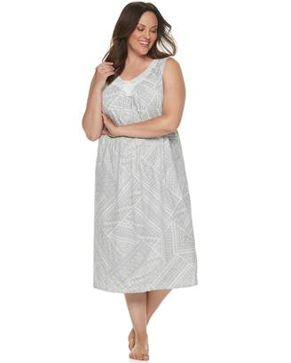 Croft & Barrow Plus Size Lace-Trim Nightgown