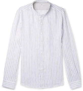 Brunello Cucinelli Grandad-Collar Pinstriped Linen Shirt