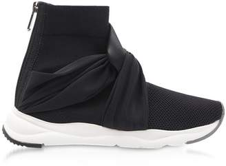 Balmain Black Fabric And Leather Knot-knit Cameron Running Women's Sneakers