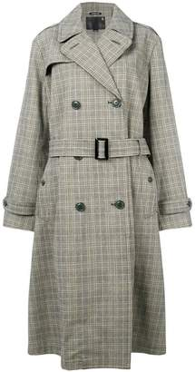 R 13 checked trench coat