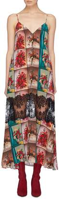 Stella McCartney Lace panel floral photographic print silk camisole dress