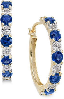 Macy's Sapphire (3/4 ct. t.w.) and Diamond Accent Hoop Earrings in 14k Gold (Also Emerald and Certified Ruby)
