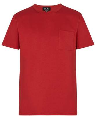 A.P.C. Pocket Crew Neck Cotton T Shirt - Mens - Red