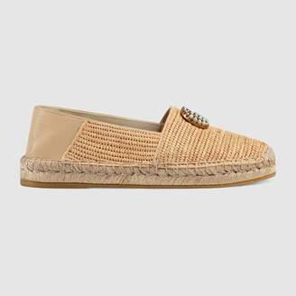 Raffia espadrille with Double G