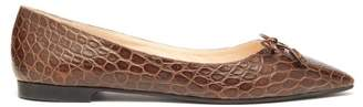 Prada Crocodile Embossed Leather Ballet Flats - Womens - Tan
