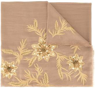 Janavi floral embroidered scarf