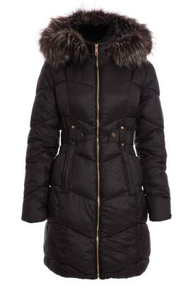 Quiz Black Fur Trim Longline Puffer Jacket