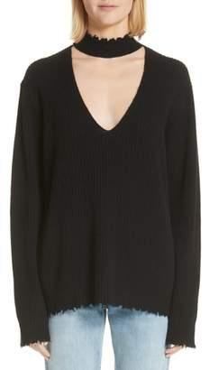 R 13 Choker V-Neck Cashmere Sweater
