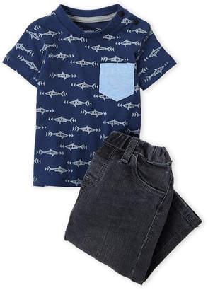 Sovereign Code Infant Boys) Two-Piece Shark Print Pocket Tee & Slim Fit Jeans Set