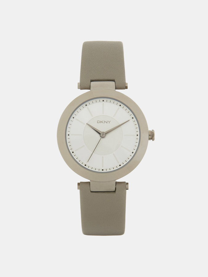 DKNY Stanhope Grey Leather 3 Hand Watch