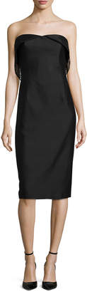 Zac Posen Strapless Sheath Dress W/Mesh Detail, Caviar Black