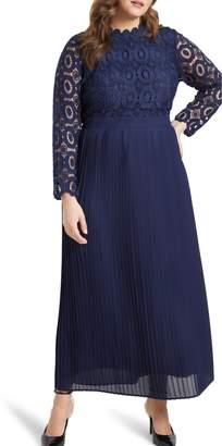 ELOQUII Lace Bodice Pleated Long Sleeve Evening Dress