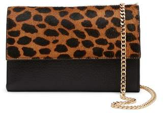 Vince Camuto Fayna Genuine Calf Hair & Leather Foldover Clutch