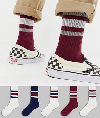 Off-White ASOS DESIGN sports style socks in & dark retro colors 5 pack