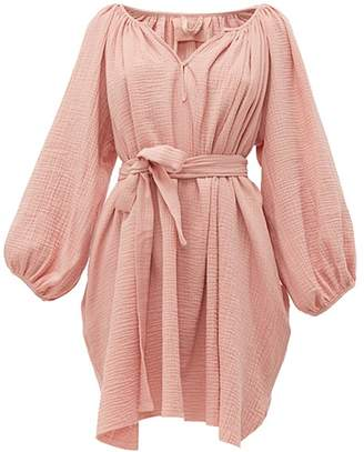 Loup Charmant Peasant Tunic Crinkle Cotton Mini Dress - Womens - Pink