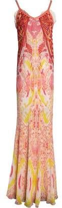 Roberto Cavalli Leather-Trimmed Embroidered Printed Silk-Georgette Gown